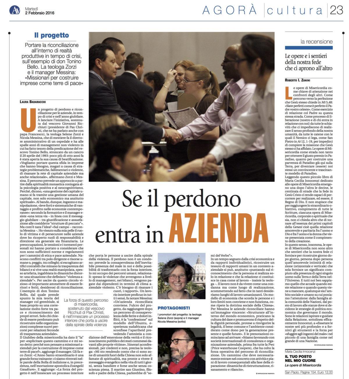 Se il perdono entra in Azienda (Avvenire 2.2.2016)